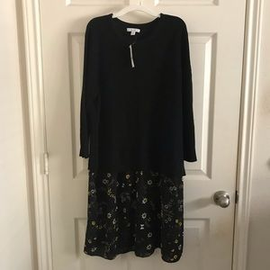 NY&Co Black Sweater Dress With Floral Skirt NWT